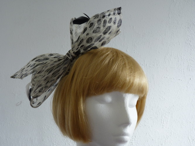 Wedding headpiece Black and White bow