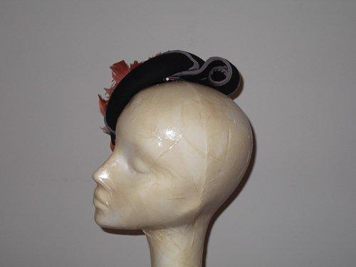 Designer Millinery by Rachel Wykes Wedding headpiece Black Grey and Coral