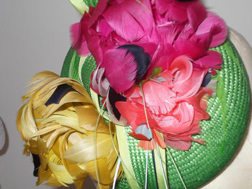 Designer Millinery by Rachel Wykes Wedding headpiece Green Multi