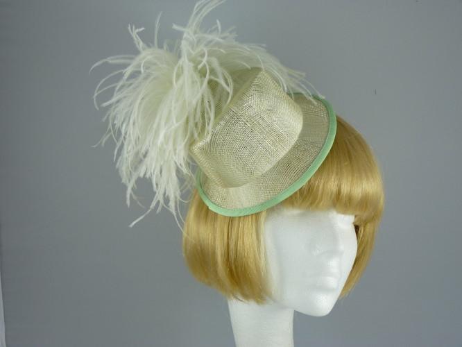 Wedding headpiece Green and Cream