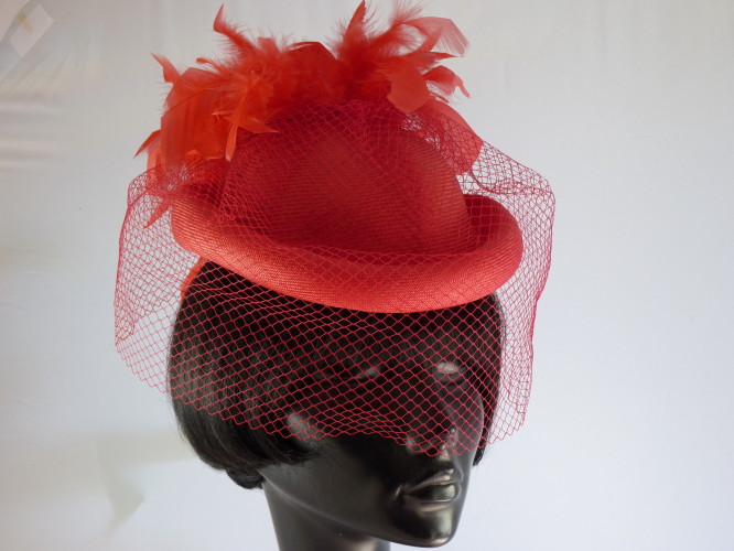Wedding headpiece two tone Red