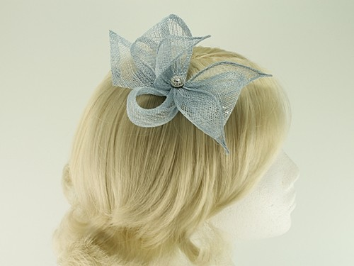 Elegance Collection Diamante Clip Fascinator with Matching Sinamay Bag
