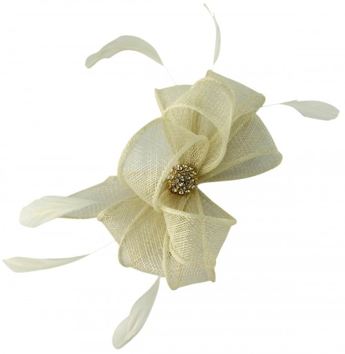 Elegance Collection Small Clip Diamante Fascinator in Ivory