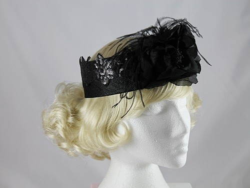 J Bees Millinery Black Band Headpiece