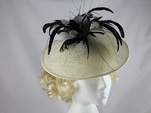 J Bees Millinery Ivory and Black Disc