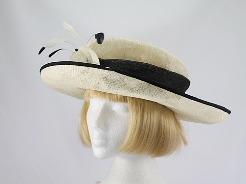 Jacques Vert Cream and Black Formal Hat
