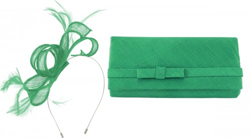Max and Ellie Sinamay Fascinator in Jade