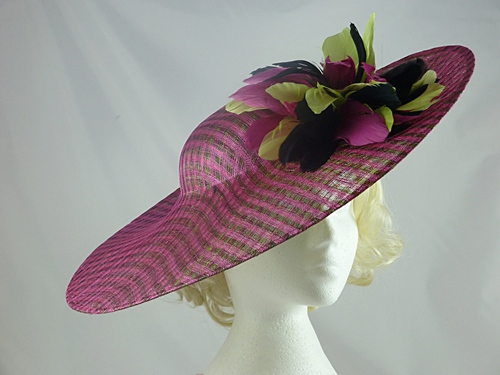 Wedding Hats 4U - Large Multi Colour Sinamay Disc in Fuschia   Lime 2e7b526b874
