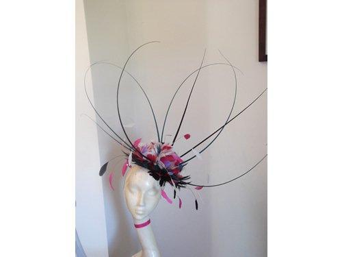 Designer Millinery by Rachel Wykes Event fascinator Teal Black Pink