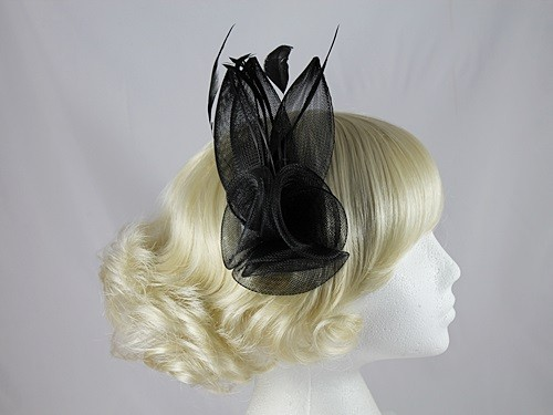 Large Black Flower and Feather Fascinator