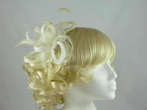 Fascinators 4 Weddings - Light Loops and Leaves Fascinator in Lemon b27bbf0c3cc