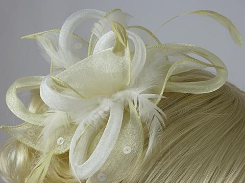 Wedding Hats 4U - Light Loops and Leaves Fascinator in Lemon 8384757186f