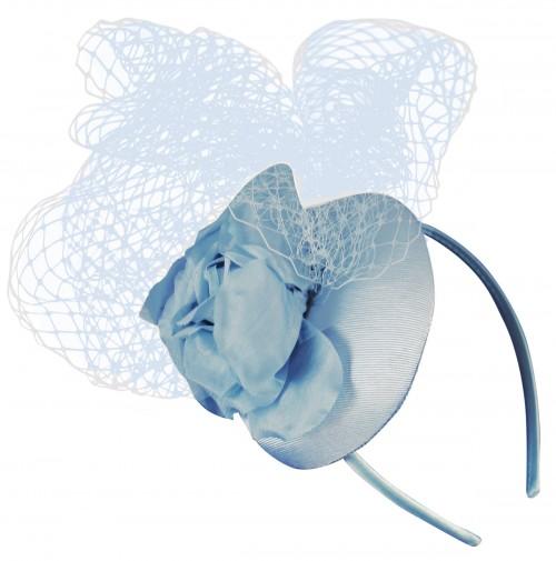 Ascot Hats 4U - Rose Headpiece in Light Blue 96a75f43728