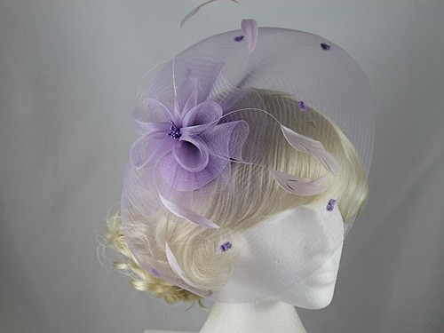 Lilac Organza and Feathers Fascinator