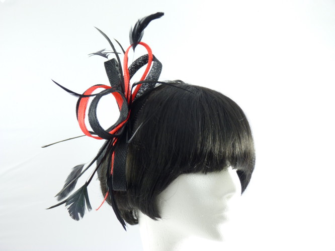 Fascinators 4 Weddings - Lily Fascinator in Black   Red 0bf7a1c50a7