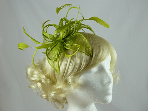 Wedding Hats 4U - Vivienne Fascinator in Lime 3bfcfba343b