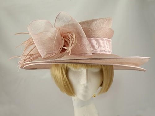 Louise Baker Seeley Pink Wide Brimmed Events Hat