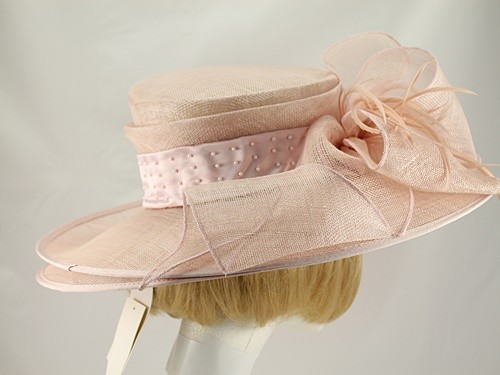 Louise Baker Seeley Pink Wide Brimmed Events Hat