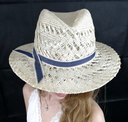 Matthew Eluwande Millinery Ivory Straw Hat with Denim Band