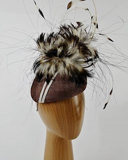 Matthew Eluwande Millinery Ivory Striped Beret
