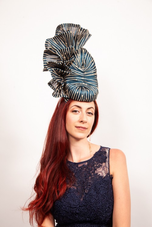 Matthew Eluwande Millinery Navy and Natural Abaca Headpiece