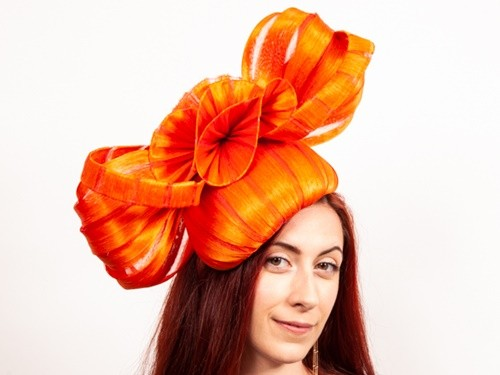 Matthew Eluwande Millinery Orange Abaca Silk Fascinator