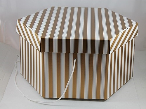 Medium Gold and White Hat Box
