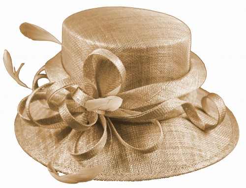 Elegance Collection Sinamay Loops Wedding Hat in Metallic Nude