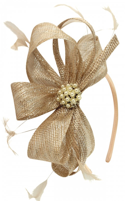 Elegance Collection Sinamay Headpiece Fascinator in Metallic Nude