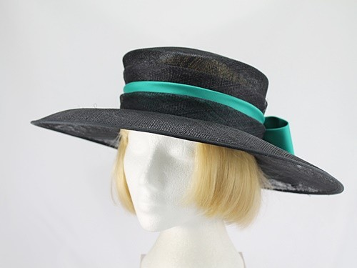 Mitzi Lorenz Black and Turquoise Wedding Hat