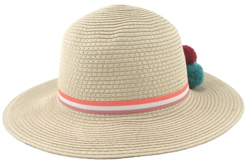 SSP Hats Girls PomPom Straw Hat