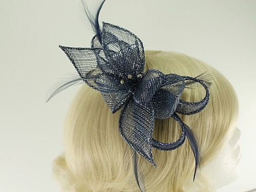 Failsworth Millinery Sinamay Diamante Clip Fascinator