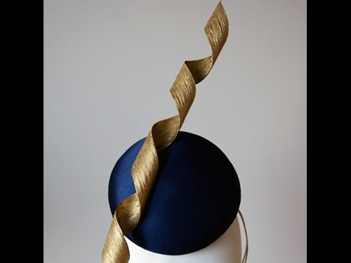 Wedding Hats 4U - Esther Louise Millinery Corkscrew Silk Button in Navy    Gold 805d4011aa3