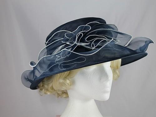 Wedding Hats 4u Organza Two Tone Wedding Hat In Navy Amp White
