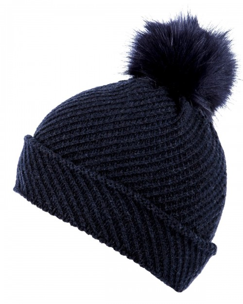 Alice Hannah Alina Diagonal Ribbed Beanie in Navy