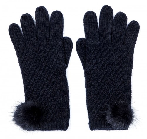 Alice Hannah Alina Diagonal Ribbed Gloves in Navy