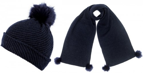 Alice Hannah Alina Diagonal Ribbed Beanie with Matching Scarf in Navy
