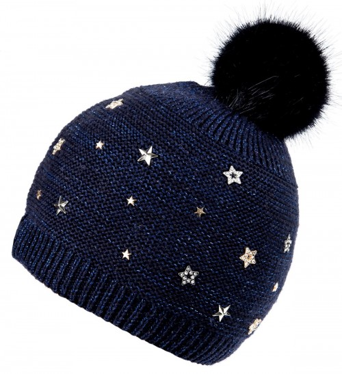 Alice Hannah Allie Sparkly Stars Bobble Hat in Navy