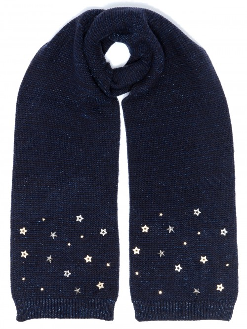 Alice Hannah Allie Sparkly Stars Scarf in Navy