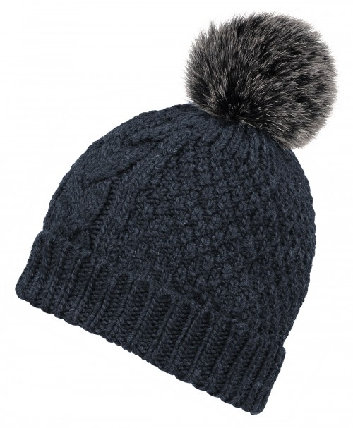 Boardman Cable Knit Bobble Hat in Navy
