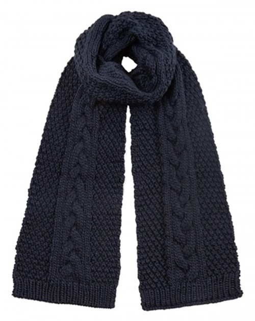 Boardman Cable Knit Scarf in Navy