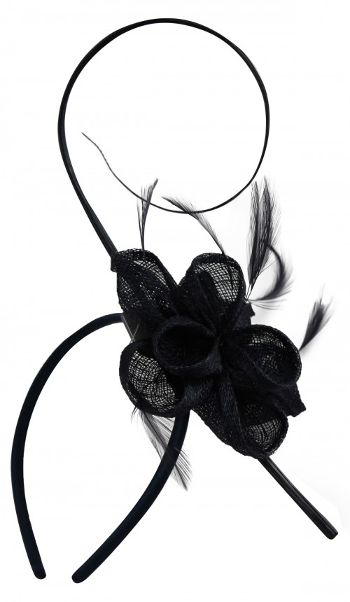 Elegance Collection Flower and Quill Headpiece in Navy