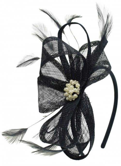 Elegance Collection Sinamay Headpiece Fascinator in Navy