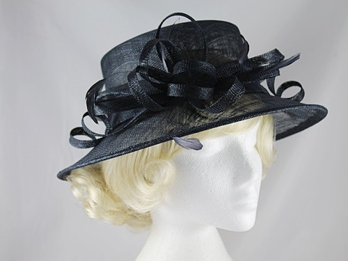 Elegance Collection Sinamay Loops Wedding Hat in Navy