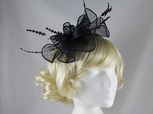 Elegance Collection Waves Fascinator in Navy