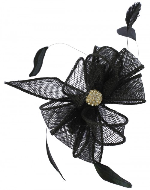 Elegance Collection Small Clip Diamante Fascinator in Navy