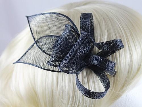 Fascinators 4 Weddings - Elegance Collection Small Sinamay Fascinator in  Navy 7d537fa2d1b