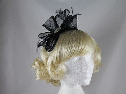 Elegance Collection Diamante and Loops Fascinator in Navy