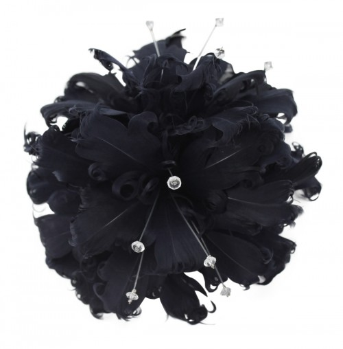 Failsworth Millinery Feather and Diamante Fascinator in Navy