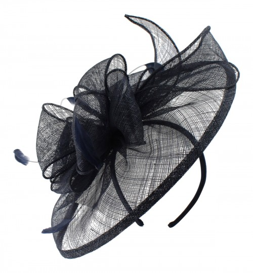 Failsworth Millinery Sinamay Headpiece in Navy